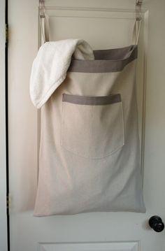Hanging Hamper Laundry Bag  Gray Drawstring Bag by RedCheckMarket