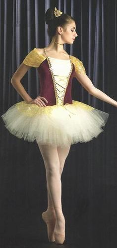 In Time Christmas Ballet Tutu Dance Costume Burgundy Gold Military