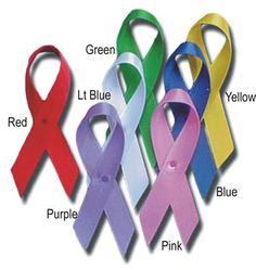 Wholesale Medals Awareness Ribbons -- This website has a whole list of what each color of these ribbons stand for. It also has a list of patterned ribbons, and what they stand for as well.