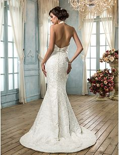 Trumpet/Mermaid V-neck Satin And Lace Wedding Dress(604627)  – USD $ 199.99