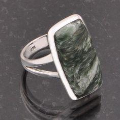 925 STERLING SILVER DESIGNER GREEN SERPHINITE RING 5.0g DJR5468 #Handmade #Ring