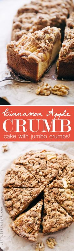 Cinnamon Apple Crumb Cake - A simple coffee cake topped with sliced apples and lots of jump lump crumbs. The perfect accompaniment to coffee of a crisp fall morning! #coffeecake #applecrumbcake #crumbcake   Littlespicejar.com