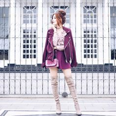 a pop of color! over knee boots and velvet bag