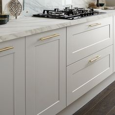 This 19mm-thick Shaker cabinet door in cool dove grey has a distinctive wide frame with a subtle bevelled edge, for a modern take on a traditional kitchen. Grey Shaker Kitchen, Shaker Kitchen Cabinets, Shaker Style Kitchens, Refacing Kitchen Cabinets, Kitchen Units, Home Kitchens, Fitted Kitchens, Cabinet Refacing, Shaker Style Cabinets