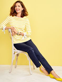 The playful side of polished! Stripes get a seasonal update in a bright and sunny hue. The portrait collar and tie details at the three-quarters sleeves lend undeniable feminine charm. | Talbots