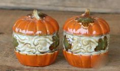 """Fall Harvest Halloween Pumpkins Salt & Pepper Shakers S/P by Great Finds. $9.88. Each shaker measures approx 3"""" x 2.25"""" x 2.25"""". Hand painted ceramic. Fall Harvest Halloween Pumpkins Salt & Pepper Shakers S/P"""