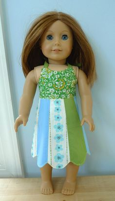 "Free pattern for a cute doll dress. Fits 18"" dolls. Downloadable. **** 4 stars from me! Can hardly believe this has been pinned over 350 times!"