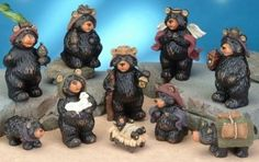 Black bear Nativity scene figurines