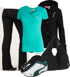 Puma Workout Outfit l Cute Workout Outfits, Workout Attire, Sporty Outfits, Mode Outfits, Athletic Outfits, Fall Outfits, Fashion Outfits, Workout Gear, Yoga Workouts