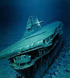 USS Yorktown (CV-5) at the bottom, more than 3 miles down — deeper than the wrecks of the Titanic or Bismarck. Discovered in May 1998 by underwater explorer Robert Ballard.