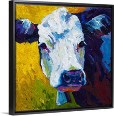 """Contemporary painting of a cow with spirited brush strokes and a wonderful combination of colors - """"Belle"""" wall art by Marion Rose from Great BIG Canvas"""