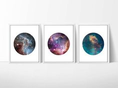 Set of 3 Hubble Telescope Space Prints / Nebula Print / Galaxy Print / Universe Print / Circle Print / 5x7, 8x10, 13x19