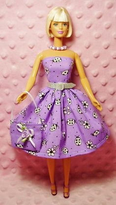 An etsy shop with beautiful barbie outfits!! >>>Barbie Clothes  Lady Bug Dress Purse Necklace