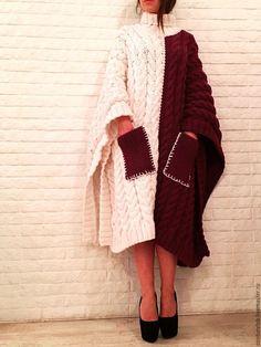 One-side colored knitted poncho   Купить Вязаное пончо ручной работы - комбинированный, орнамент, пончо, пончо вязаное, вязаное пончо