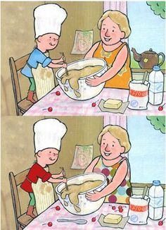 cooking--find the differences Dementia Activities, Montessori Activities, Learning Activities, Kids Learning, Activities For Kids, Restaurant Themes, Numbers For Kids, Free To Use Images, Hidden Pictures