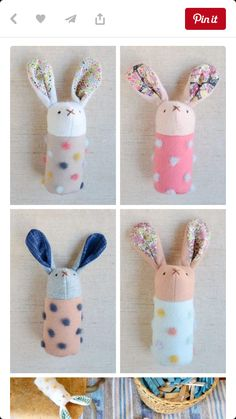 DIY Handmade Bunnies, Softies, Rabbits, Rattles, Toys by Myu Yashiki Satoh Sewing Toys, Baby Sewing, Sewing Crafts, Sewing Projects, Sewing Ideas, Diy Projects, Softies, Sewing For Kids, Diy For Kids