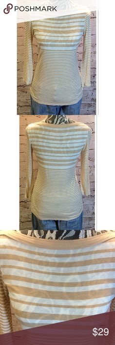 GAP RAYON BOATNECK TOP Great piece for dressing up or down. Tan and cream with cropped sleeves and so soft GAP Tops Blouses