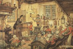 Anton Pieck Dutch painter and illustrator. I'm going to draw like this. Next project. Anton Pieck, Antique Pictures, Vintage School, Dutch Painters, All Nature, 3d Prints, Dutch Artists, Painting & Drawing, Illustrators