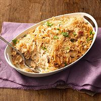 Turkey Tetrazzini - this is in my oven now. I swapped in almond milk for the dairy milk, gluten free flour, and nuts for the breadcrumbs.