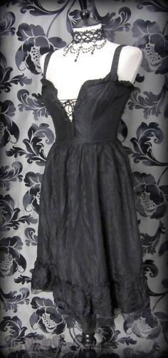 Gothic Romantic Black Ruffle Lace Corset Style Dress 8 Vintage 50's Rockabilly | THE WILTED ROSE GARDEN on eBay // Worldwide Shipping Available