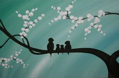 Bird Family Painting Original Modern Textured Tree by NathalieVan