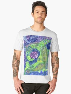 """""""""""Dream of the fullmoon"""", surreal art mermaid fantasy, underwater, blue and green colors"""" Men's Premium T-Shirts by clipsocallipso   Redbubble  """"Dream of the full moon"""" - surreal art, underwater fantasy in blue, green and purple colors.  Spirit of water merging with the gigantic  green fish in the surrealistic marine landscape with huge waves, full moon and starry sky. Acrylic painting on paper. © Clipso-Callipso / Julia Khoroshikh #psychedelic #art #surreal #underwater #aquatic #nautical…"""