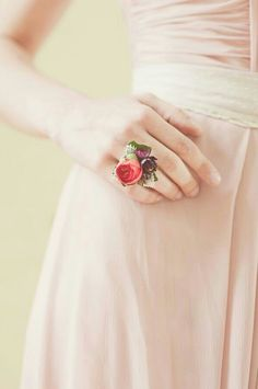 Fresh Floral Ring Comprised Of: Pink Camellia Bud, Tiny Purple Daisies & A Small Amount Of Green Foliage... So Cute!>>>>