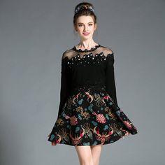 Women Black Embellished Long Sleeve Off Shoulder Fit Flare Mesh Spliced Printed Skater Party Mini Dress Plus Size l-5xl