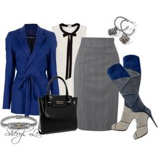 On-trend Blue for the Office, created by sheryl-lee on Polyvore
