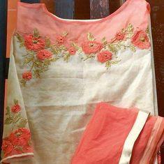 Different types of stylish kurti neck designs - ArtsyCraftsyDad Embroidery Suits Punjabi, Embroidery On Kurtis, Kurti Embroidery Design, Hand Embroidery Dress, Embroidery Neck Designs, Embroidery Fashion, Beaded Embroidery, Embroidery Stitches, Embroidery Patterns
