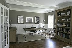 built in bookcase with white trim Mud Rooms, Laundry Rooms, Built In Bookcase, Bookcases, Den Ideas, Piano Room, Front Office, Grand Designs, White Trim