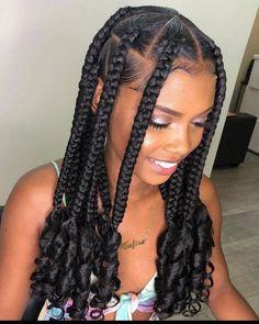 Box Braids Hairstyles For Black Women, Braids Hairstyles Pictures, Black Girl Braided Hairstyles, African Braids Hairstyles, Braids For Black Hair, Hairstyle Ideas, 4 Braids Hairstyle, Braids For Black Women, Braids For Girls