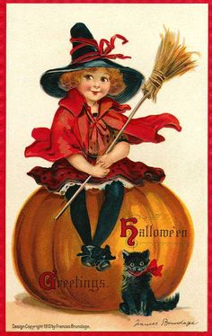 Little witch on pumpkin with black kitten
