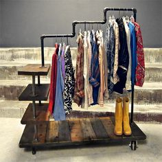 and shelf space, this reclaimed wood and galvanised pipe clothes rack .