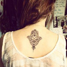 Girl back hamsa tattoo, Hamsa tattoos Piercings, Piercing Tattoo, I Tattoo, Sternum Tattoo, Hamsa Tattoo Design, Tattoo Designs, Yoga Tattoos, New Tattoos, Hand Tattoos