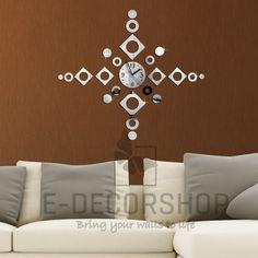 neu spiegel moderne wanduhr design wandtattoo dekoration uhren, Hause ideen