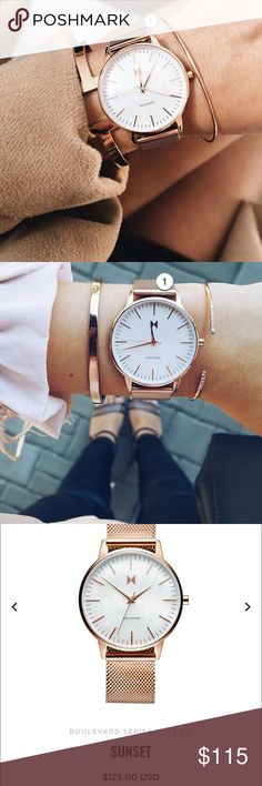 MVMT Women's Boulevard Sunset Watch Like new condition! Comes with original box. Brushed rose gold stainless steel DIAL Pearl DIAL DETAILS Rose gold hands & markers / rose gold second hand STRAP Rose gold stainless steel Accessories Watches