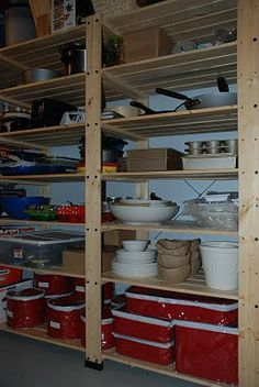 Basement Organization Shelves.  This is what we need!  Way better than cinder blocks and plywood.