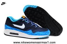 best loved 3b084 e3d4b New 2014 Mens Nike Air Max 1 87 Running Shoes Blue Wave For Wholesale Navy  Blue