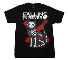 Your Favorite Band Merch and Rock T-Shirts Officially licensed Falling in Reverse t-shirt featuring a cool X-Ray cat front print. Men's standard fit, 100% cotton t-shirt. Black color. Small.