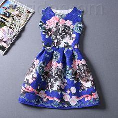 Short Retro Printing Patterns Women's Clothing Sleeveless Casual Dress YHD2-3 Size S M L XL on Luulla