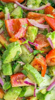 Cucumber Tomato Avocado Salad- in smaller pieces, this would make awesome pico de gallo... Especially with some jalapeño!!