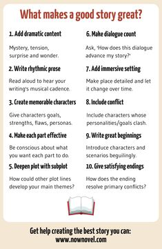What makes a good story? 10 elements writing advice советы п Writing Promps, Script Writing, English Writing Skills, Book Writing Tips, Writing Characters, Writing Words, Writing Resources, Writing Help, Dialogue Writing