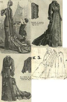 Tygodnik Mód Morning gown in princess form from green, blue or red cashmere with different trimmings. 1870s Fashion, Edwardian Fashion, Vintage Dress Patterns, Clothing Patterns, Sewing Patterns, Victorian Pattern, Victorian Era, Historical Costume, Historical Clothing