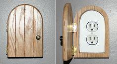 Fairy Door, Faerie Door, Gnome doors, Elf Doors, Hobbit Doors outlet/wall plug cover made from solid oak. :)