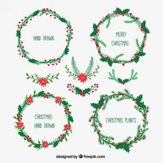 Hand drawn christmas wreaths collection Free Vector