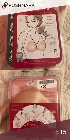 5 way sticky bra pads D cup pads that are great for hiding the straps of your bra. Worn once. Have center clasp cleavage option. Reusable, strapless, backless bra Intimates & Sleepwear Bras