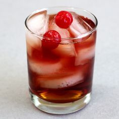 Beautiful One cocktail with Grand Marnier, Hennessy, Cranberry Juice. Get the drink recipe at http://mixthatdrink.com/beautiful-one/