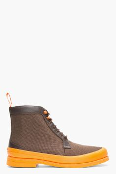 SWIMS Brown & Orange Rubber-trimmed HArry Boots