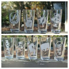 Sandblasted Pint Glasses~Mix and Match- Grateful Dead, Widespread Panic, Phish- SHIPPING INCLUDED on Etsy, $21.00